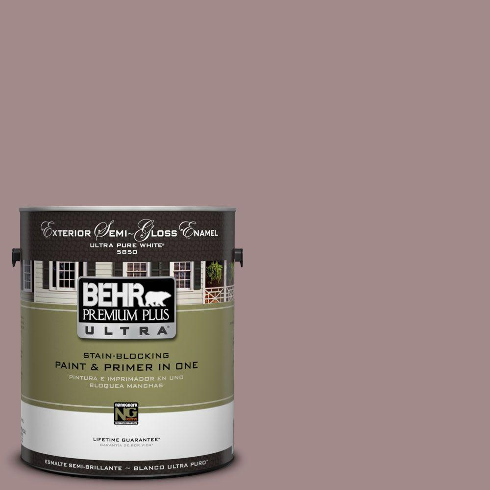 BEHR Premium Plus Ultra 1-Gal. #UL100-15 Cameo Rose Semi-Gloss Enamel Exterior Paint-DISCONTINUED