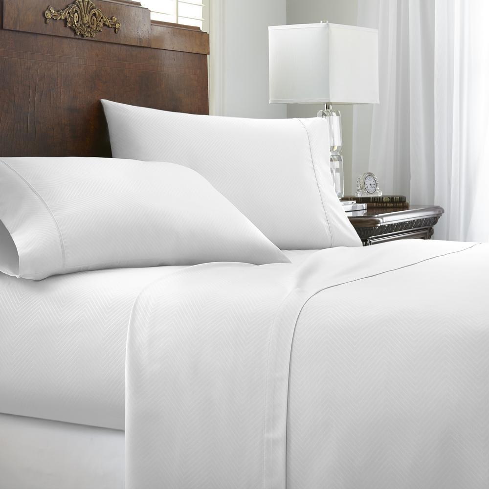 Embossed Chevron 4-Piece White Full Performance Bed Sheet Set
