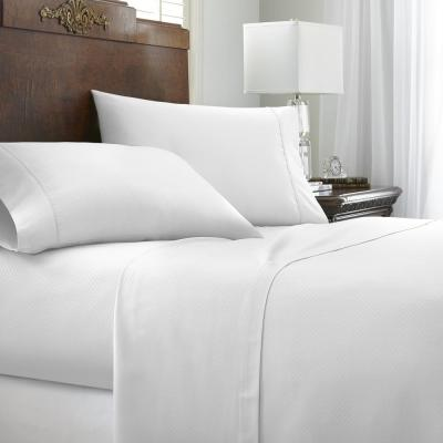 Embossed Chevron White Twin Performance 4-Piece Bed Sheet Set