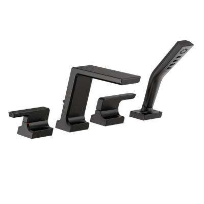 Pivotal 2-Handle Deck-Mount Roman Tub Faucet Trim Kit with Hand Shower in Matte Black (Valve Not Included)