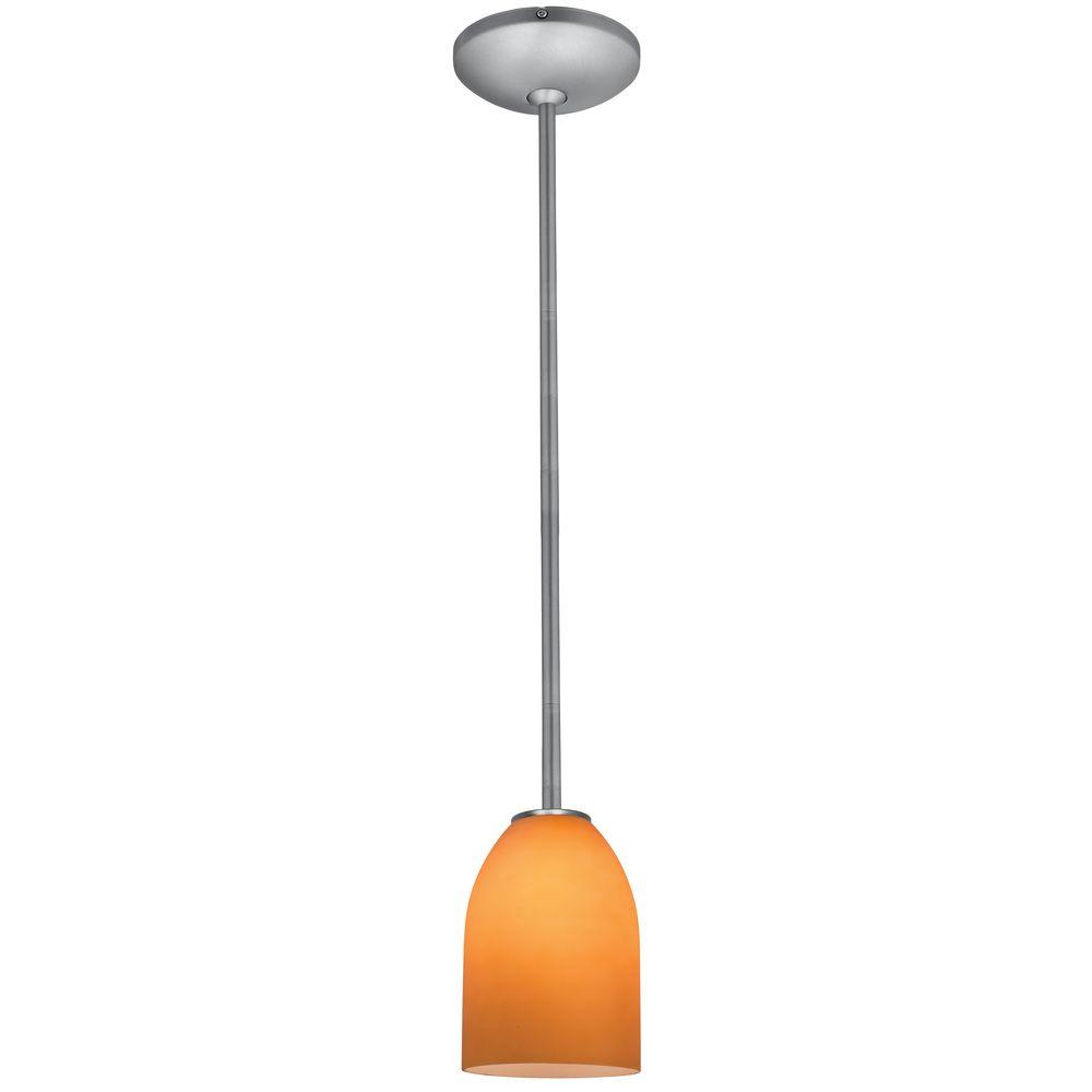 Access Lighting Bordeaux 1 Light Brushed Steel Metal Pendant With Amber Gl Shade
