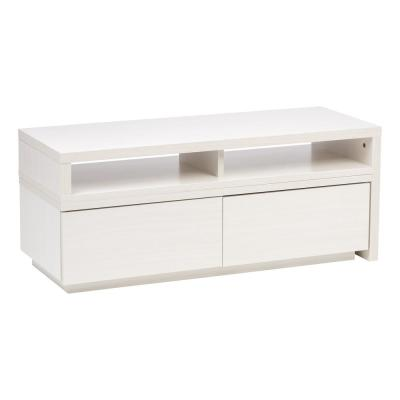 15 in. White Particle Board TV Stand with 2 Drawer Fits TVs Up to 39 in. with Built-In Storage