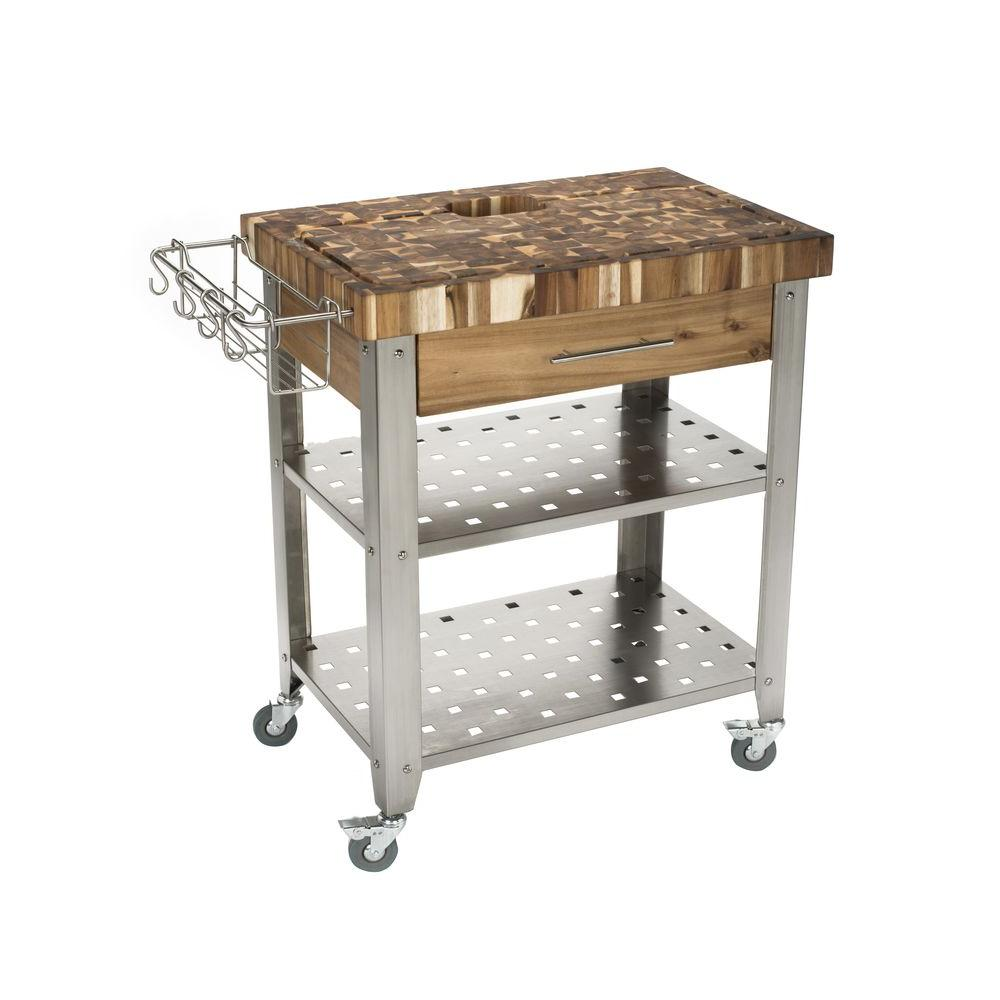 Chris Pro Stadium Stainless Steel Kitchen Cart With Storage Jet3191 The Home Depot