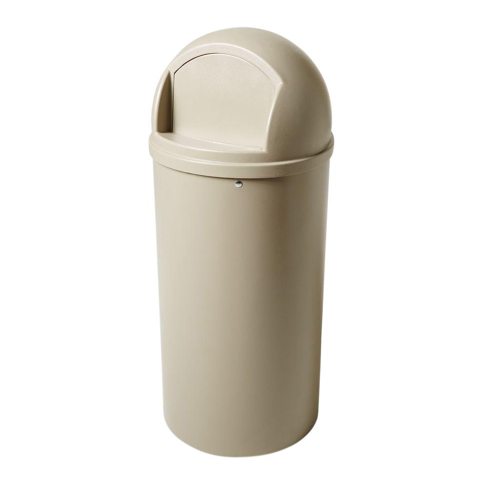 Rubbermaid Commercial Products Marshal 25 Gal. Beige Classic Round Top Trash Can