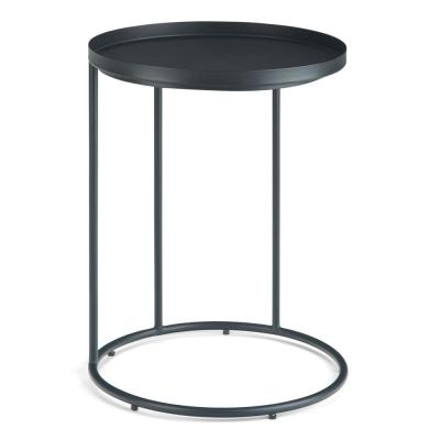 Thompkins Modern Industrial 18 inch Wide Metal Accent Side Table in Black, Fully Assembled