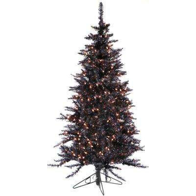 5 ft. Festive Black Tinsel Christmas Tree with Clear LED Lighting
