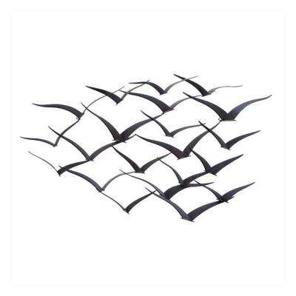 Flock of Flying Birds Black Metal Wall Decor