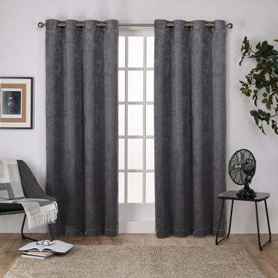 Antique Shantung 52 in. W x 96 in. L Woven Blackout Grommet Top Curtain Panel in Black Pearl (2 Panels)