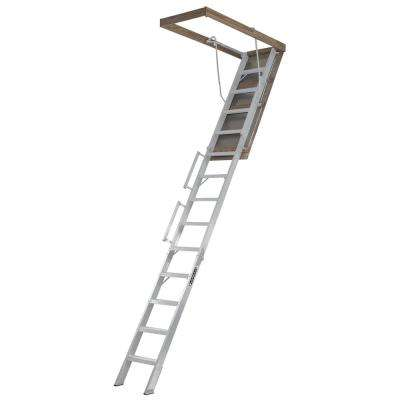10 ft. to 12 ft. 25.5 in. 350 lbs. Load Capacity Fire Treated Aluminum Attic Ladder