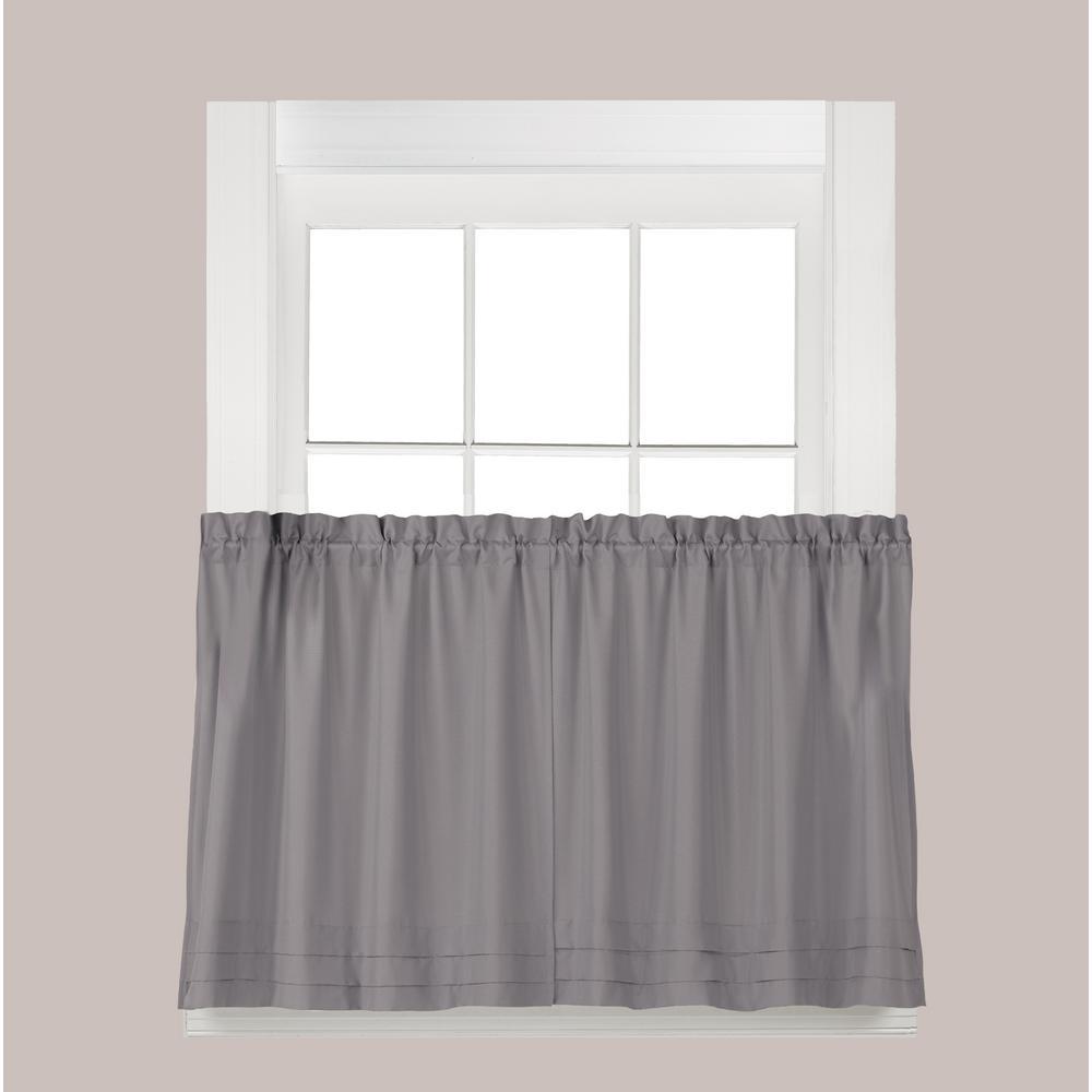 Saturday Knight Holden Dove Gray Polyester Rod Pocket Tier Curtain