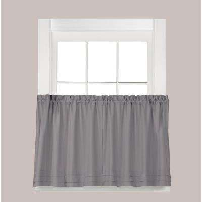 Holden Dove Gray Polyester Rod Pocket Tier Curtain - 57 in. W x 45 in. L