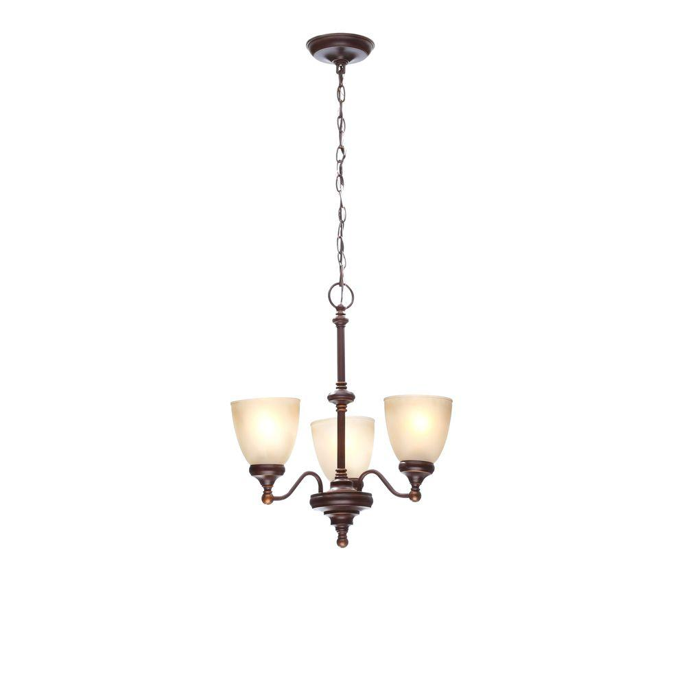 Hampton Bay Bristol 3 Light Nutmeg Bronze Reversible Chandelier With Tea Stained  Glass Shades
