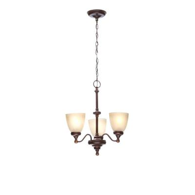 Bristol 3-Light Nutmeg Bronze Reversible Chandelier with Tea-Stained Glass Shades