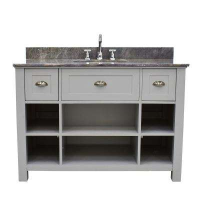 Provident 48 in. W Bathroom Vanity in Grey with Cultured Marble Vanity Top in Grey with White Basin