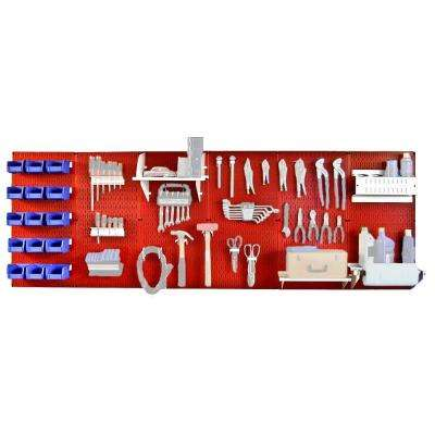 32 in. x 96 in. Metal Pegboard Master Workbench Tool Organizer with Red Pegboard and White Accessories