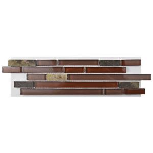 Merola Tile Tessera Piano Bordeaux Glass and Stone Mosaic Tile - 3 inch x 4 inch Tile Sample by