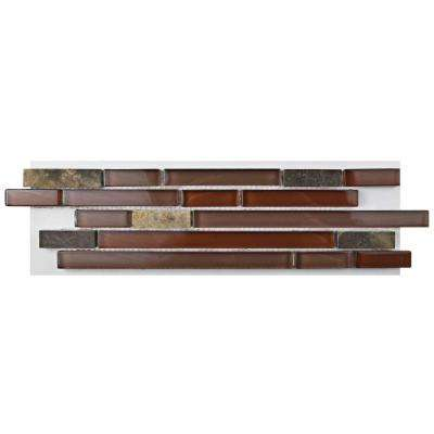 Tessera Piano Bordeaux Glass and Stone Mosaic Tile - 3 in. x 4 in. Tile Sample