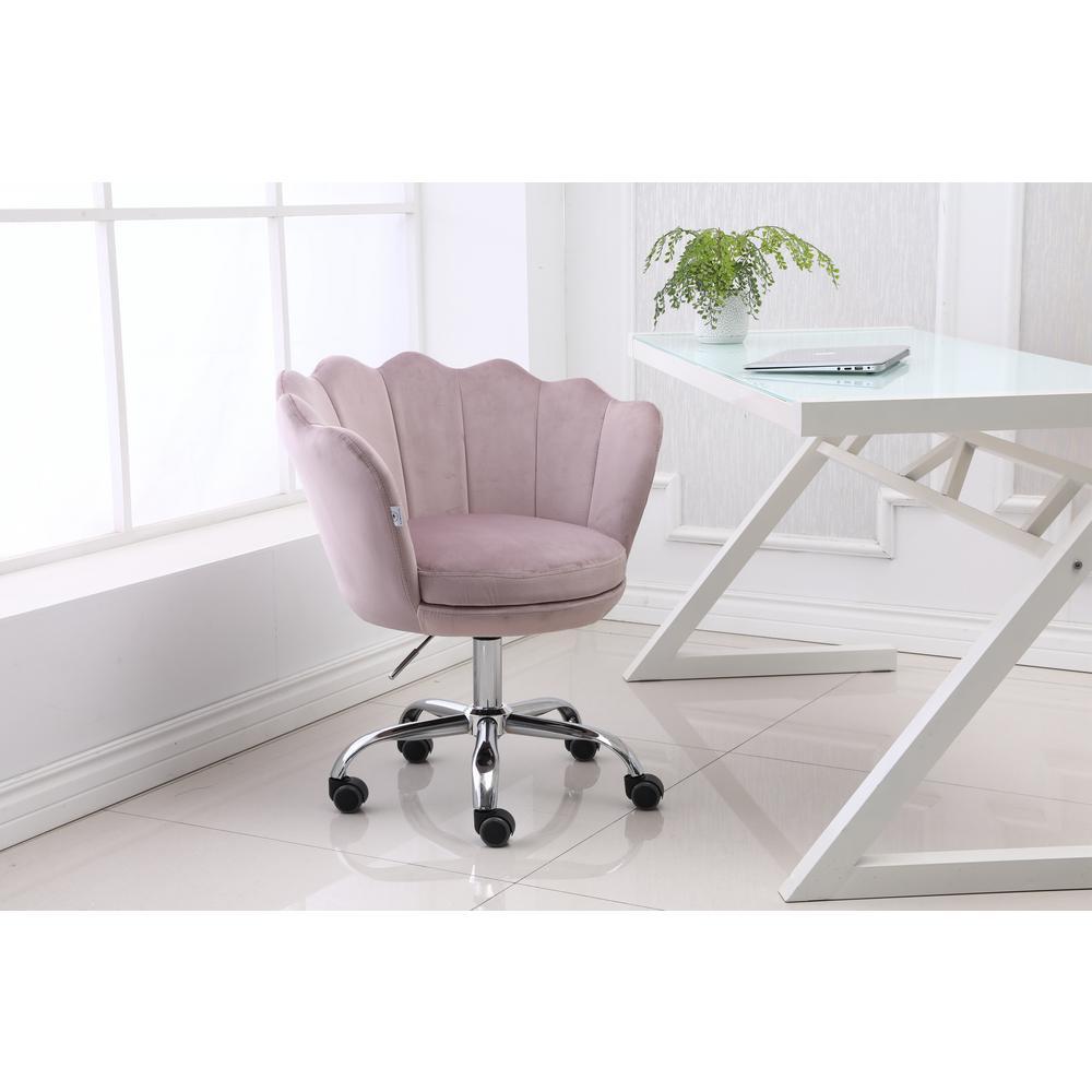 Boyel Living Pink Velvet Swivel Office Desk Chair Shell Height Adjustable Accent Chair With 360 Castor Wheels Wf Hfsn 109p The Home Depot