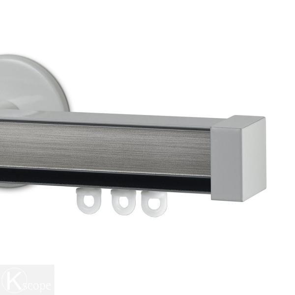 Nexgen 48 in. Non-Adjustable Single Traverse Window Curtain Rod Set with White Endcap in Pewter Applique