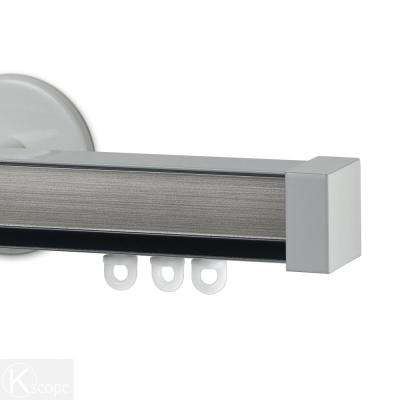 Nexgen 96 in. Non-Adjustable Single Traverse Window Curtain Rod Set with White Endcap in Pewter Applique