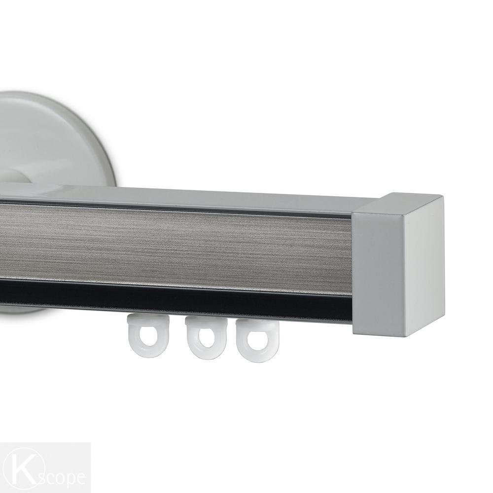 Nexgen 96 in. Non-Adjustable Single Traverse Window Curtain Rod Set with White Endcap in Pewter Applique