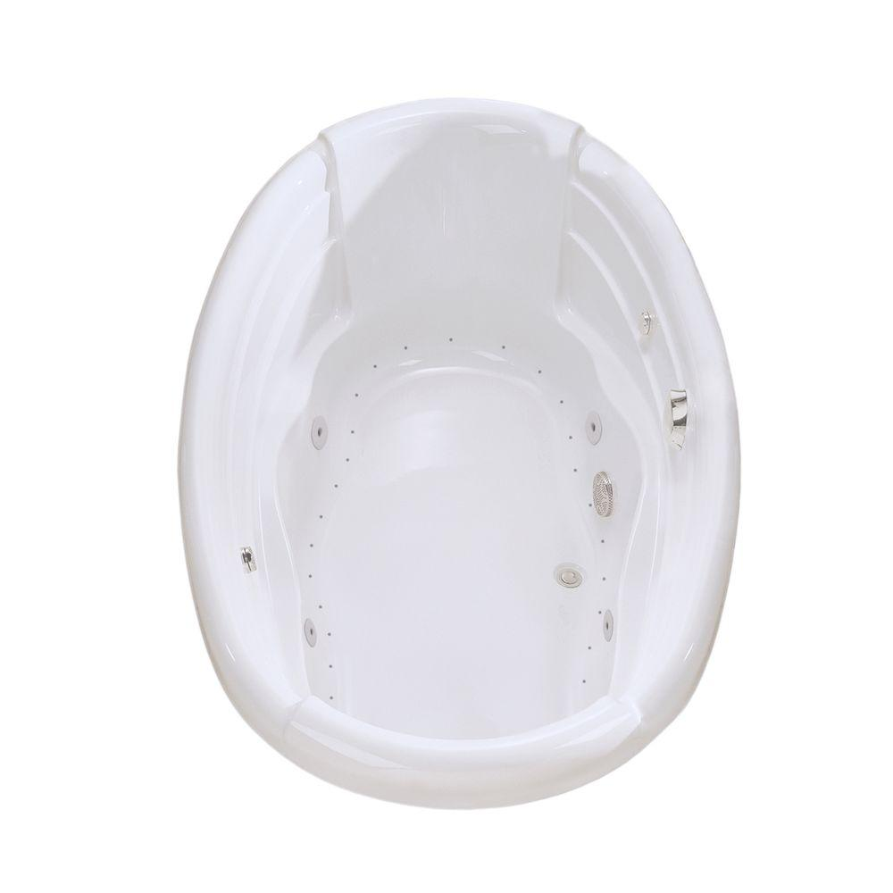 MAAX Agora 6 ft. Center Drain Soaking Tub Combined with Hydrosens and Bubble in White