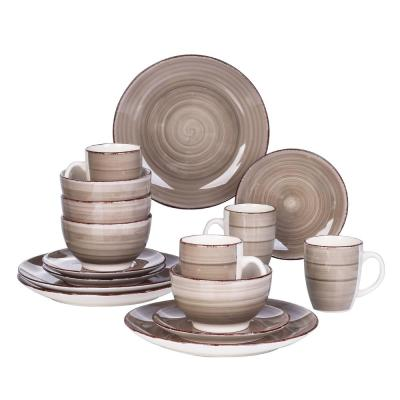 Series Bella Dinnerware 16-Pieces Creme-I Porcelain Crockery in Vintage Look (Service Set for 4)