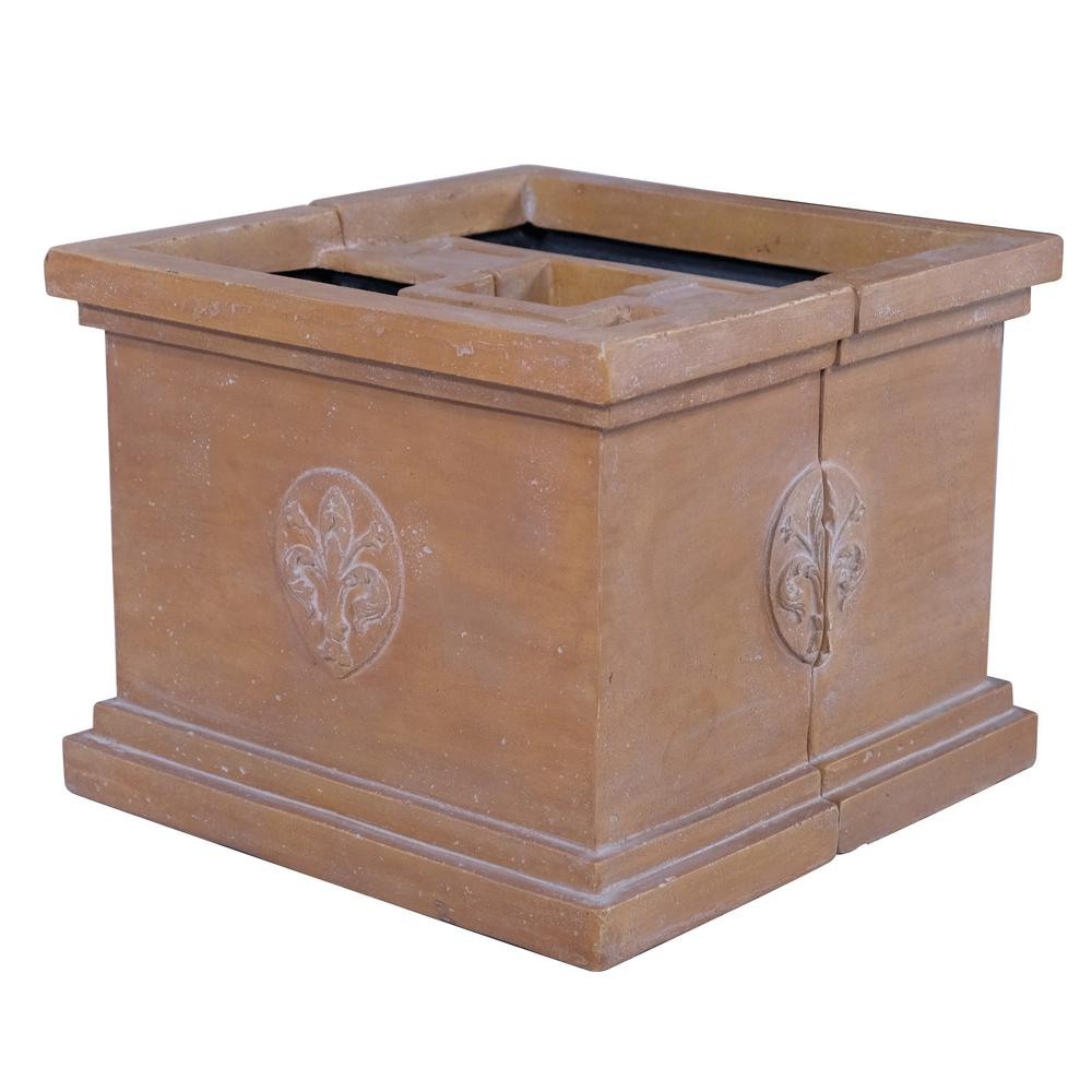 Mpg 18 In Square Cast Stone White Washed Terracotta Finish Firenze