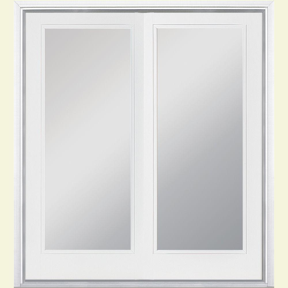 Masonite 60 in. x 80 in. Ultra White Prehung Right-Hand Inswing Full Lite Steel Patio Door with Brickmold in Vinyl Frame