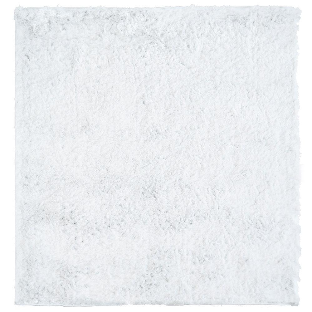 So Silky White 3 ft. x 3 ft. Square Area Rug