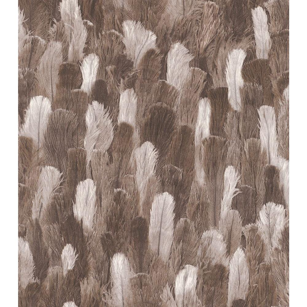 Washington Wallcoverings African Queen Ii Brown And White Ostrich