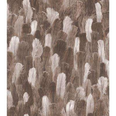African Queen II Brown and White Ostrich Feather Print Vinyl Wall Paper