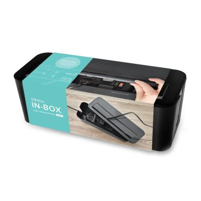 In-Box Cable Organizing Management Box for Under Desk in Black