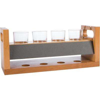 14 in. 4-Glass Craft Beer Flight Tasting Set with Chalkboard