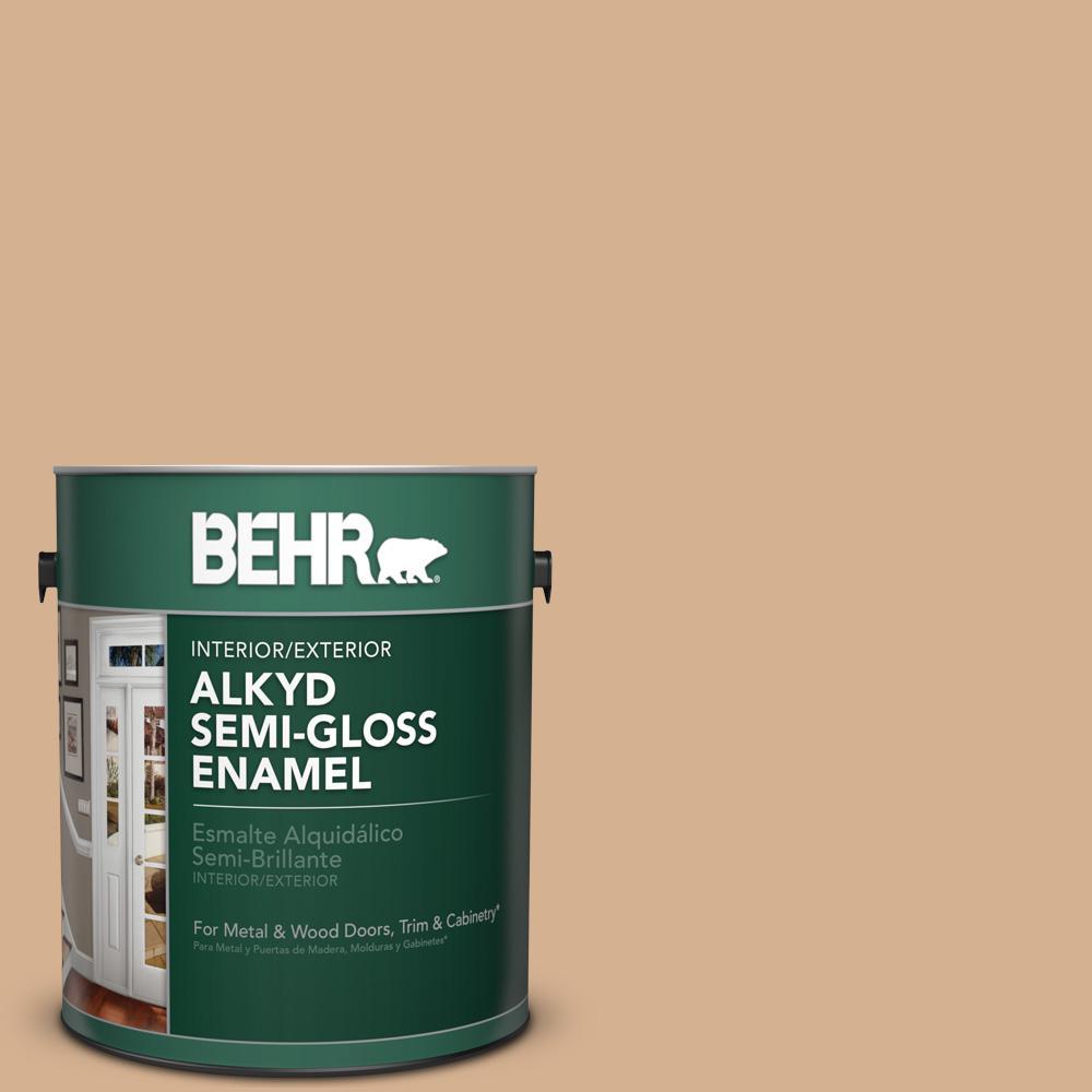 1 gal. #HDC-NT-04 Creme De Caramel Semi-Gloss Enamel Alkyd Interior/Exterior Paint