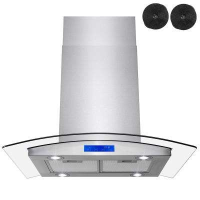 30 in. 343 CFM Convertible Island Mount Range Hood in Stainless Steel with LEDs, Touch Panel and Carbon Filters