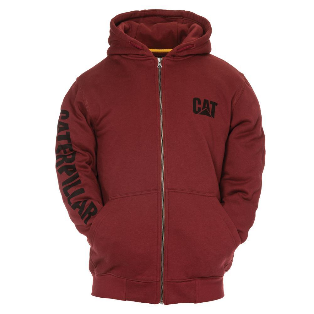Trademark Banner Men's Medium Brick Cotton/Polyester Full Zip Hooded Sweatshirt