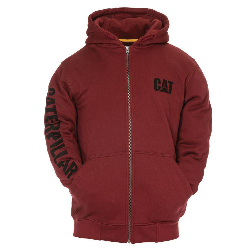 38f2c777624c Caterpillar Trademark Banner Men s Tall-2X-Large Brick Cotton Polyester  Full Zip Hooded Sweatshirt-W10840x-11600-T2XL - The Home Depot