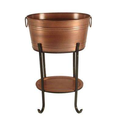 Antique Copper Beverage Tub with Tray and Stand
