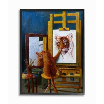"16 in. x 20 in. ""Cat Confidence Self Portrait as a Tiger Funny Painting"" by Artist Lucia Heffernan Framed Wall Art"
