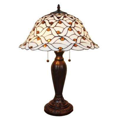 26 in. Tiffany Style and White Jeweled Table Lamp
