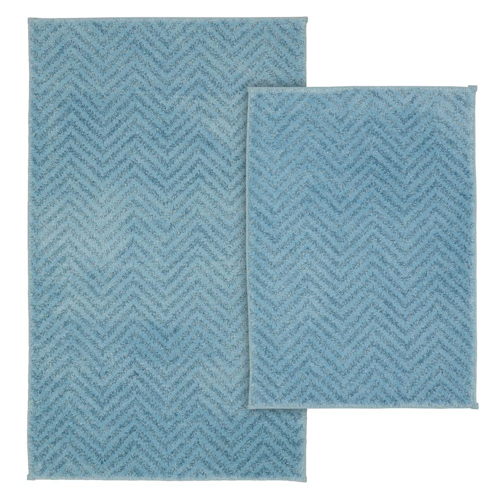 Palazzo 2 Piece Rug Washable Bathroom Rug Set in Basin Blue