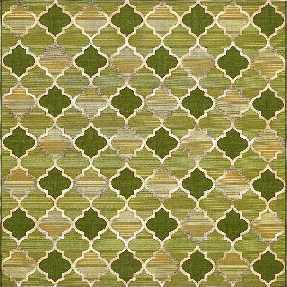 Outdoor Eden Trellis Green 6' 0 x 6' 0 Square Rug