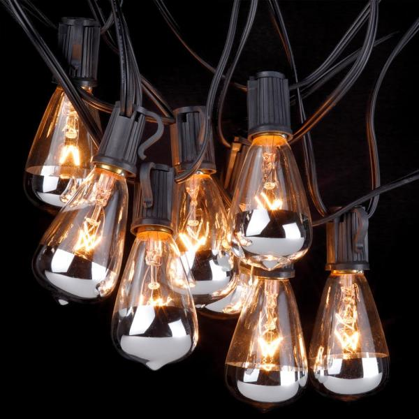 Globe Electric Bristol 10 Light Indoor Outdoor 10 Ft Plug In String Light Designer Silver Tipped Vintage Edison Bulbs Included 12882 The Home Depot