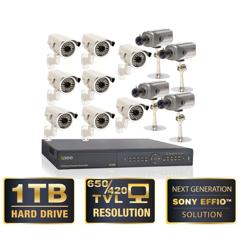 Q-SEE Premium Series 16 CH 1 TB Hard Drive Surveillance System with Eight 650 TVL and (4) 420 TVL Audio Cameras-DISCONTINUED