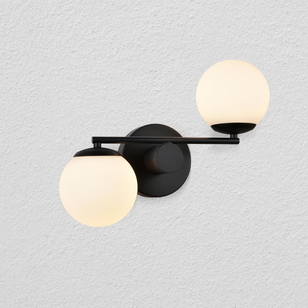 Capri 14 in. Black Integrated LED Sconce