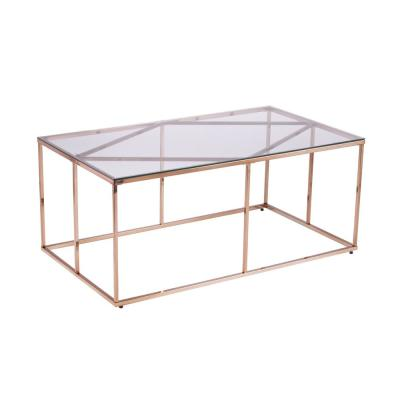 Lahz Champagne Contemporary Glass-Top Coffee Table