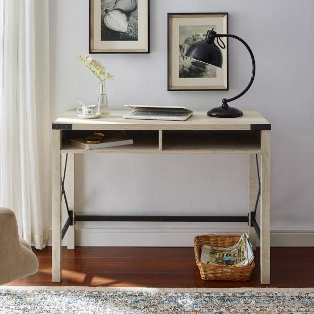 42 in. Rectangular White Oak Writing Desks with Built-In Storage