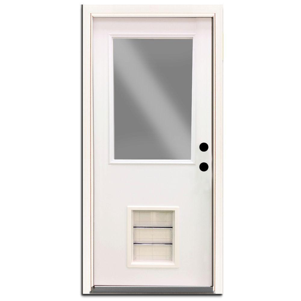 Steves & Sons Premium Half Lite Primed White Steel Entry Door 32 in. Left Hand Inswing with Extra Large Pet Door