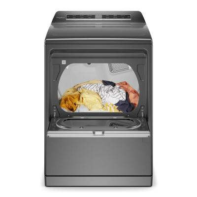 7.4 cu. ft. 120-Volt Smart Chrome Shadow Gas Vented Dryer with a Hamper Door and Steam, ENERGY STAR